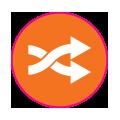 Icône orange de flèches Centre Génération Emploi Montréal
